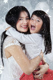 Girl embrace her mother with full love Royalty Free Stock Photo