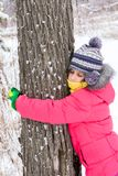 The girl embraced the tree and clung to him Stock Images