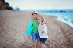 Girl embraces and kisses a boy Royalty Free Stock Photo