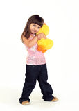 The girl embraces a soft toy Royalty Free Stock Photo