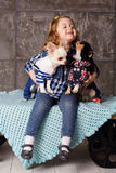 Girl is embraces two small chuhuahua dogs Stock Images