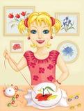 Girl embroidering Stock Photos