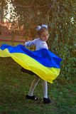 Girl in embroidery with the flag of Ukraine Stock Photos
