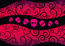 Girl  Emo Design. Emo Background with hearts and skulls. Girlish fashion design suitable for t-shirt print Stock Image