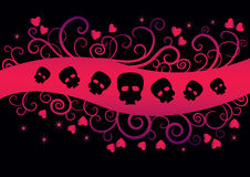 Girl  Emo Design. Emo Background with hearts and skulls. Girlish fashion design suitable for t-shirt print Stock Photos