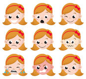 Girl Emotion Faces Cartoon. Isolated set of female avatar expressions. Vector Illustration Royalty Free Stock Photography