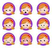 Girl Emotion Faces Cartoon.  set of female avatar expressions. Vector Illustration Royalty Free Stock Photography