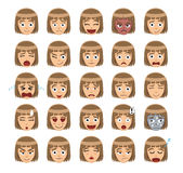 Girl Emotion Faces Cartoon Vector Illustration 1 Stock Images