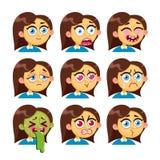 Girl emotion faces. Royalty Free Stock Photos