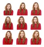 Girl emotional attractive set make faces isolated on white backg Stock Image