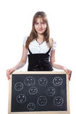 Girl and emotional persons on a school board Royalty Free Stock Images
