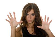 Girl emotionally show his disagreement stock photos