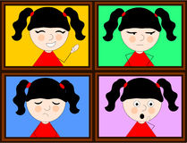 Girl and emotions. Illustration of a girl in four different expressions of emotions Stock Image