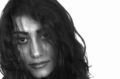 Girl emotions. A face closeup with messed up look in black and white royalty free stock photos