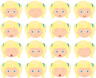Girl emotions: joy, surprise, fear, sadness, sorrow, crying, lau Royalty Free Stock Photos