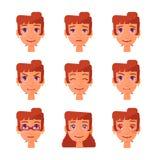 Girl emotions set. Isolated girl facial expression: joy, amorous, anger Stock Photos