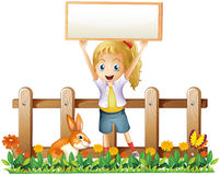 A girl with an empty frame and a bunny. Illustration of a girl with an empty frame and a bunny on a white background Royalty Free Stock Photography