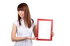The girl with an empty framework Stock Images