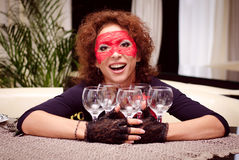 Girl with empty glasses Stock Images