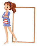A girl beside an empty rectangular frame. Illustration of a girl beside an empty rectangular frame on a white background Stock Photo