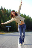 Girl on Empty Road Royalty Free Stock Photo
