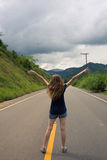 Girl at the empty road at Brazil Stock Image