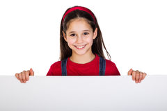 Girl with emtpy banner Royalty Free Stock Image