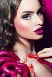 Girl&#x27en; s-framsida vektor för valentin för pardagillustration älska Royaltyfri Foto