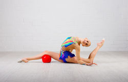 Girl engaged art gymnastic Stock Photos