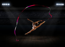 Girl engaged art gymnastics Royalty Free Stock Images