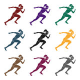 The girl is engaged in athletics.The actives in athletics.active sports single icon in black style vector symbol stock. Web illustration royalty free illustration