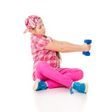 Girl is engaged with dumbbells Royalty Free Stock Photo