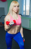 The girl is engaged in the gym Stock Images