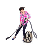 Girl engaged in home cleaning Royalty Free Stock Images