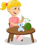 The girl is engaged in needlework,vector Royalty Free Stock Photography