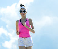 Girl is engaged in sports jogging Stock Image