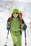 The girl is engaged in sports. Portrait of a girl who plays sports in the winter stock images