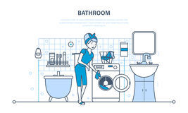 The girl is engaged in washing and cleaning in bathroom. Stock Images