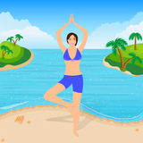 The Girl is Engaged in Yoga on the Beach Stock Photos