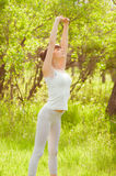 The girl is engaged in yoga Royalty Free Stock Images