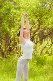 The girl is engaged in yoga Royalty Free Stock Photo