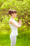 The girl is engaged in yoga Royalty Free Stock Image