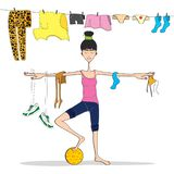 The girl is engaged in yoga. illustration. Girl doing yoga. Vector illustration.black-and-white palette. colored clothes on a rope. woman is balancing stock illustration