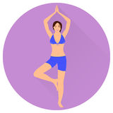 The Girl is Engaged in Yoga. Vector Icon. Royalty Free Stock Photography