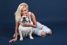The girl with an English bulldog Royalty Free Stock Photo