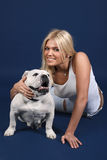 The girl with an English bulldog Royalty Free Stock Photography