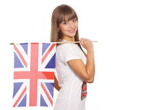 girl with english flag Stock Photos