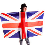 Girl english flag isolated on white background britain Stock Image