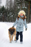 Girl with an English Mastiff Stock Photos