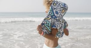 Girl Enjoy On Holidays Beach stock video footage